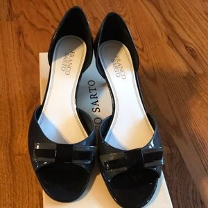 Franco Sarto Size 8.5  Peep-Toe Heels Black/Grey
